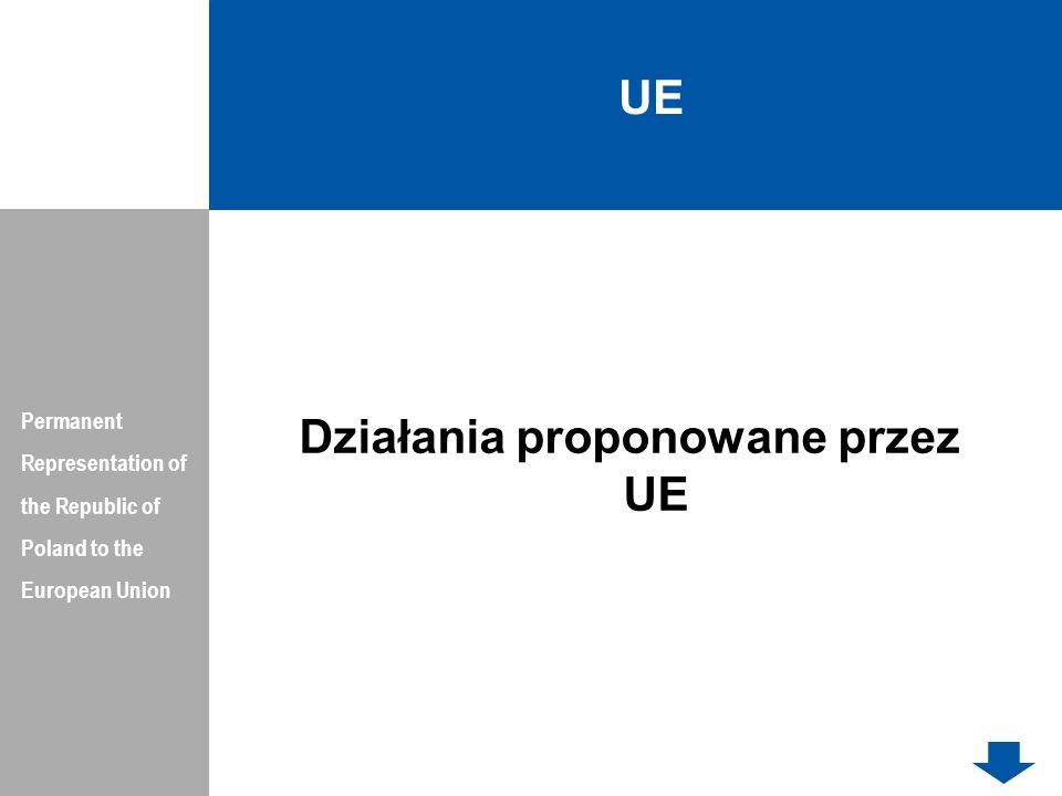 UE Permanent Representation of the Republic of Poland to the European Union Działania proponowane przez UE