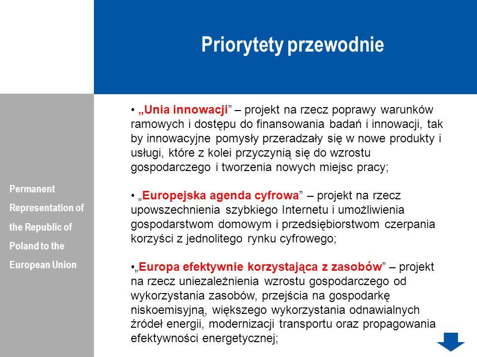 Wieloletnie ramy finansowe UE na lata 2014-2020 (w cenach roku 2011) Permanent Representation of the Republic of Poland to the European Union DziałanieKwota w mln Euro Horyzont 202070 200 Zmiany Społeczne i Innowacje815 Fundusze Regionalne164 279 Fundusz Spójności66 362,4 Rozwój Obszarów Wiejskich84 936 Bezpieczeństwo Żywności1 678,5