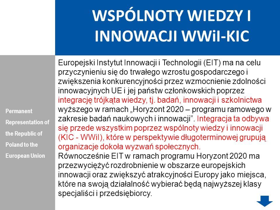 WSPÓLNOTY WIEDZY I INNOWACJI WWiI-KIC FINANSOWANIE Permanent Representation of the Republic of Poland to the European Union EIT przyjmuje kryteria i procedury finansowania, monitorowania i oceny działalności WWiI przed rozpoczęciem procedury wyboru nowych WWiI.