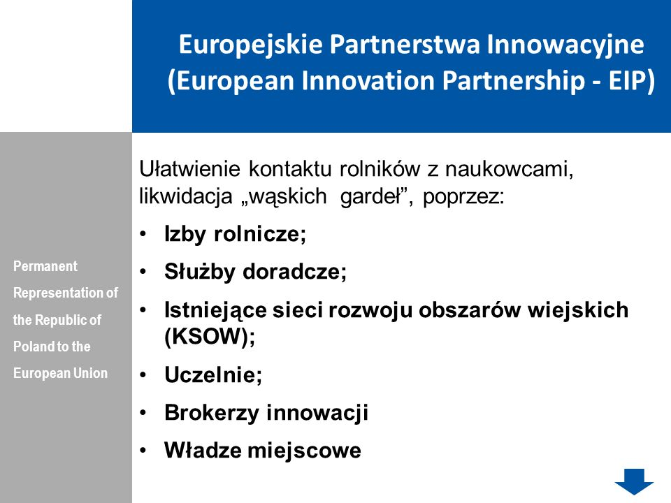 Europejskie Partnerstwa Innowacyjne (European Innovation Partnership - EIP) Permanent Representation of the Republic of Poland to the European Union U