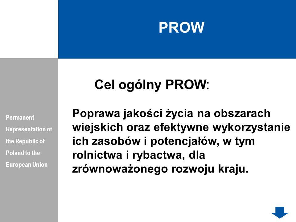 PRIORYTETY PROW Permanent Representation of the Republic of Poland to the European Union 1.Ułatwianie transferu wiedzy i innowacji w rolnictwie, leśnictwie i na obszarach wiejskich, 2.Poprawa konkurencyjności wszystkich sektorów rolnictwa i zwiększanie rentowności gospodarstw rolnych, 3.Poprawa organizacji łańcucha żywnościowego i promowanie zarządzania ryzykiem w rolnictwie, 4.Odtwarzanie, chronienie i wzmacnianie ekosystemów zależnych od rolnictwa i leśnictwa, 5.Wspieranie efektywnego gospodarowania zasobami i przechodzenia na gospodarkę niskoemisyjną i odporną na zmianę klimatu w sektorze rolnym, spożywczym i leśnym, 6.Zwiększenie włączenia społecznego, ograniczenie ubóstwa i promowanie rozwoju gospodarczego na obszarach wiejskich.
