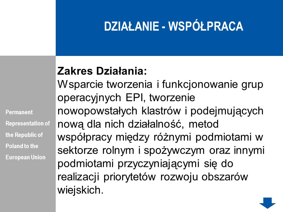 DZIAŁANIE - WSPÓŁPRACA Permanent Representation of the Republic of Poland to the European Union Zakres Działania: Wsparcie tworzenia i funkcjonowanie