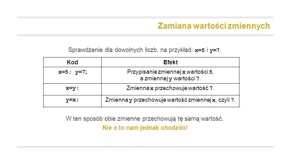 Zamiana wartości zmiennych Sprawdzenie dla dowolnych liczb, na przykład: x=5 i y=7.