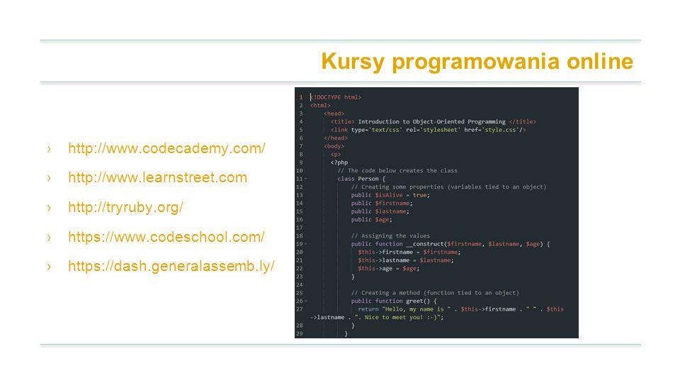 Kursy programowania online http://www.codecademy.com/ http://www.learnstreet.com http://tryruby.org/ https://www.codeschool.com/ https://dash.generala