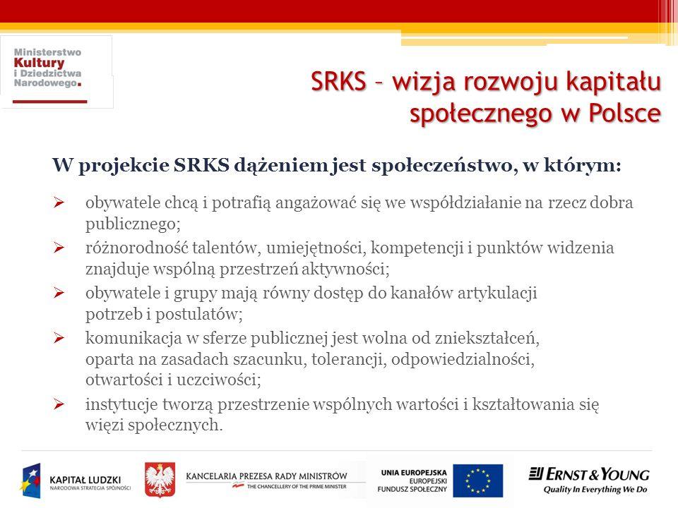SRKS – wizja rozwoju kapitału społecznego w Polsce W projekcie SRKS dążeniem jest społeczeństwo, w którym: obywatele chcą i potrafią angażować się we