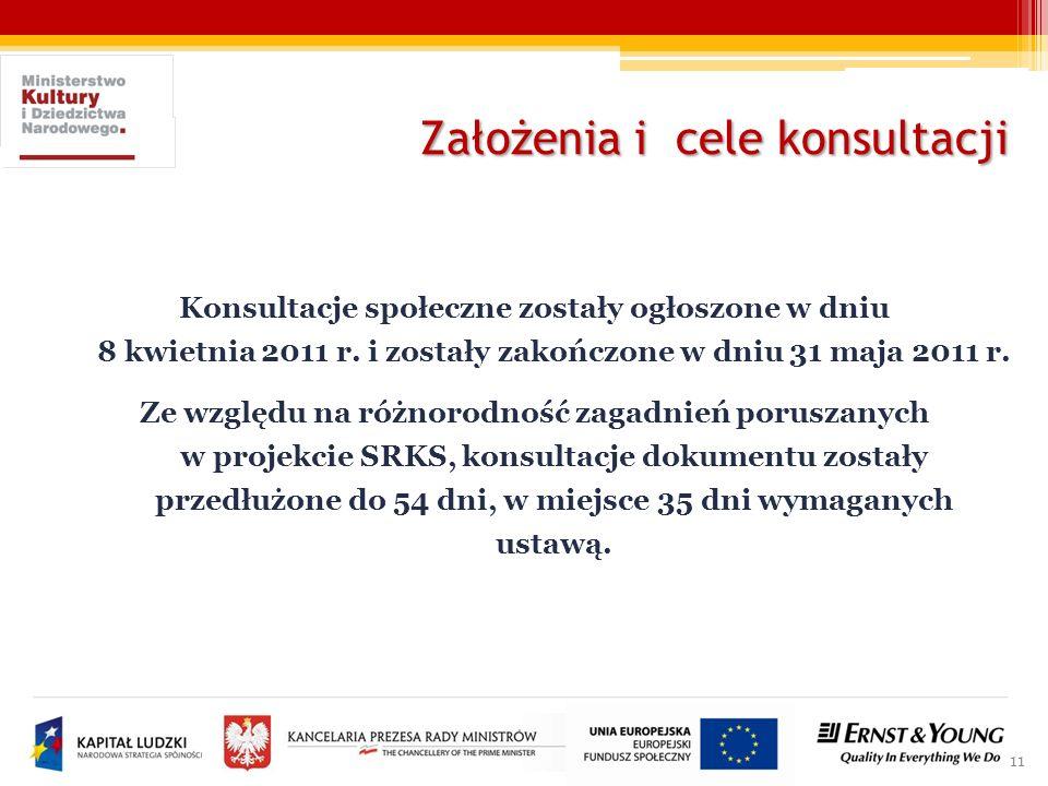 11 Konsultacje społeczne zostały ogłoszone w dniu 8 kwietnia 2011 r. i zostały zakończone w dniu 31 maja 2011 r. Ze względu na różnorodność zagadnień