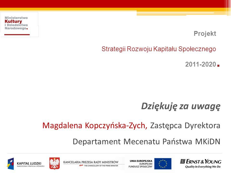 Dziękuję za uwagę Magdalena Kopczyńska-Zych, Zastępca Dyrektora Departament Mecenatu Państwa MKiDN Projekt Strategii Rozwoju Kapitału Społecznego 2011