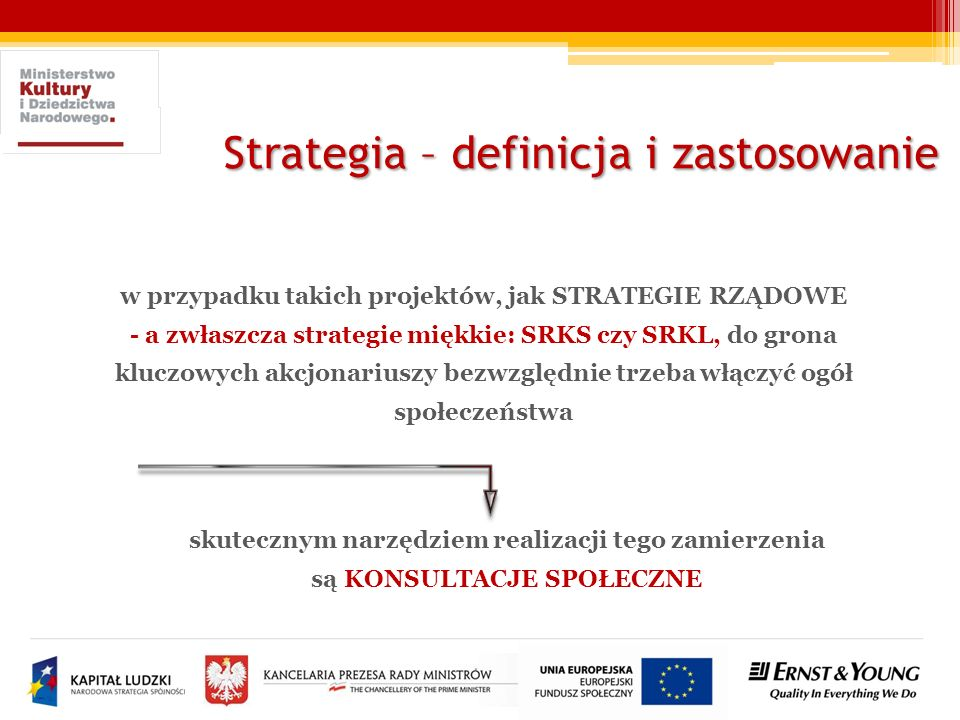Strategia – definicja i zastosowanie w przypadku takich projektów, jak STRATEGIE RZĄDOWE - a zwłaszcza strategie miękkie: SRKS czy SRKL, do grona kluc