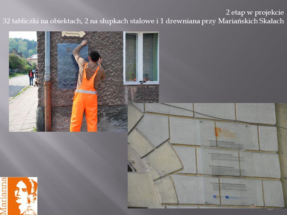 13 2 etap w projekcie 32 tabliczki na obiektach, 2 na słupkach stalowe i 1 drewniana przy Mariańskich Skałach
