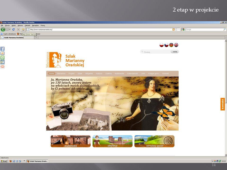 14 www.mariannaoranska.eu www.mariannaoranzska.eu 2 etap w projekcie