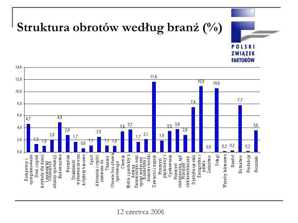 12 czerwca 2006 Struktura obrotów według branż (%)