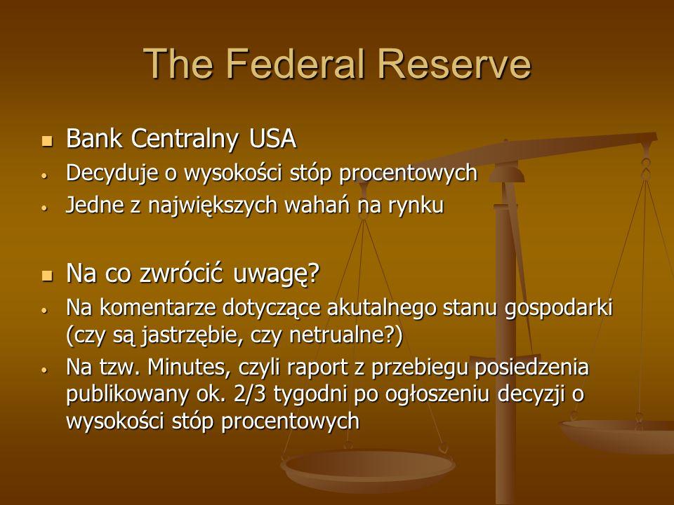 The Federal Reserve Bank Centralny USA Bank Centralny USA Decyduje o wysokości stóp procentowych Decyduje o wysokości stóp procentowych Jedne z najwię