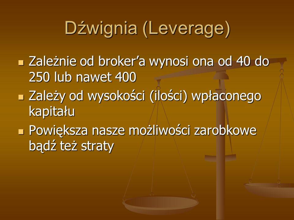 Dźwignia (Leverage) Zależnie od brokera wynosi ona od 40 do 250 lub nawet 400 Zależnie od brokera wynosi ona od 40 do 250 lub nawet 400 Zależy od wyso