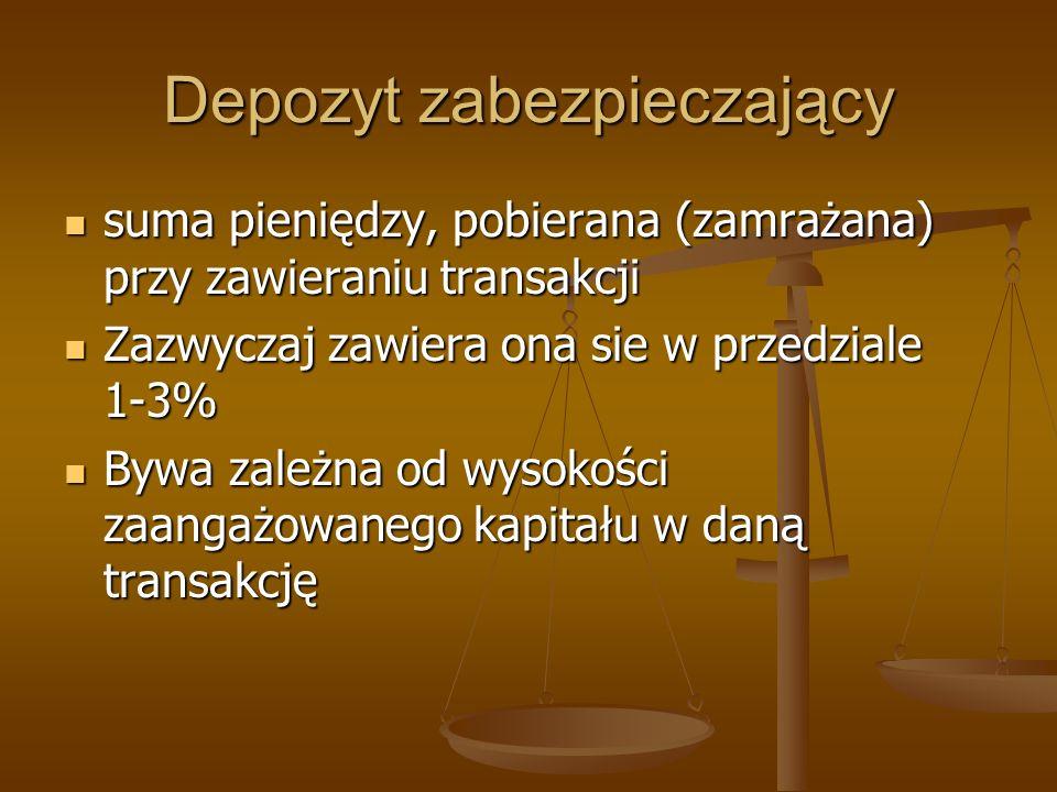 Depozyt zabezpieczający suma pieniędzy, pobierana (zamrażana) przy zawieraniu transakcji suma pieniędzy, pobierana (zamrażana) przy zawieraniu transak