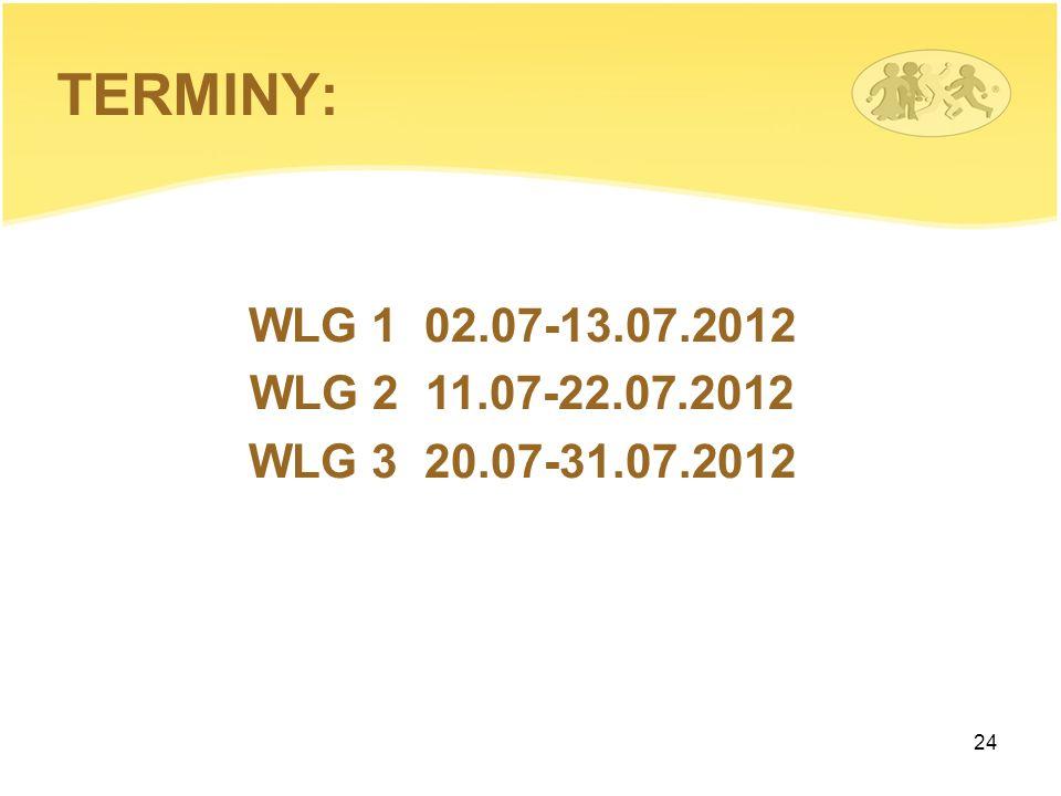 24 WLG 1 02.07-13.07.2012 WLG 2 11.07-22.07.2012 WLG 3 20.07-31.07.2012 TERMINY:
