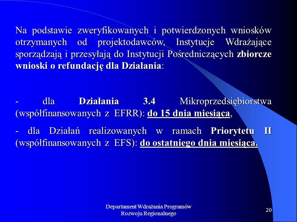 Departament Wdrażania Programów Rozwoju Regionalnego 20 Na podstawie zweryfikowanych i potwierdzonych wniosków otrzymanych od projektodawców, Instytucje Wdrażające sporządzają i przesyłają do Instytucji Pośredniczących zbiorcze wnioski o refundację dla Działania: - dla Działania 3.4 Mikroprzedsiębiorstwa (współfinansowanych z EFRR): do 15 dnia miesiąca, - dla Działań realizowanych w ramach Priorytetu II (współfinansowanych z EFS): do ostatniego dnia miesiąca.
