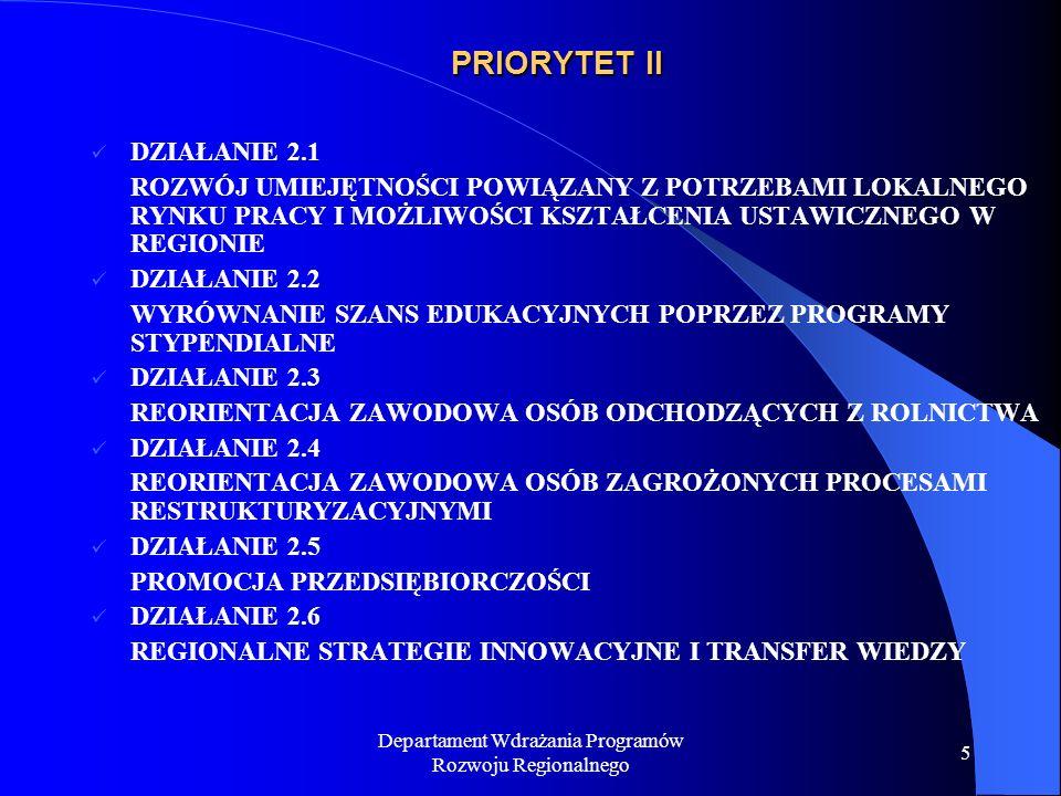 Departament Wdrażania Programów Rozwoju Regionalnego 6 PRIORYTET III DZIAŁANIE 3.1 OBSZARY WIEJSKIE DZIAŁANIE 3.2 OBSZARY PODLEGAJĄCE RESTRUKTURYZACJI DZIAŁANIE 3.3 ZDEGRADOWANE OBSZARY MIEJSKIE, POPRZEMYSŁOWE I POWOJSKOWE DZIAŁANIE 3.4 MIKROPRZEDIĘBIORSTWA DZIAŁANIE 3.5 LOKALNA INFRASTRUKTURA SPOŁECZNA
