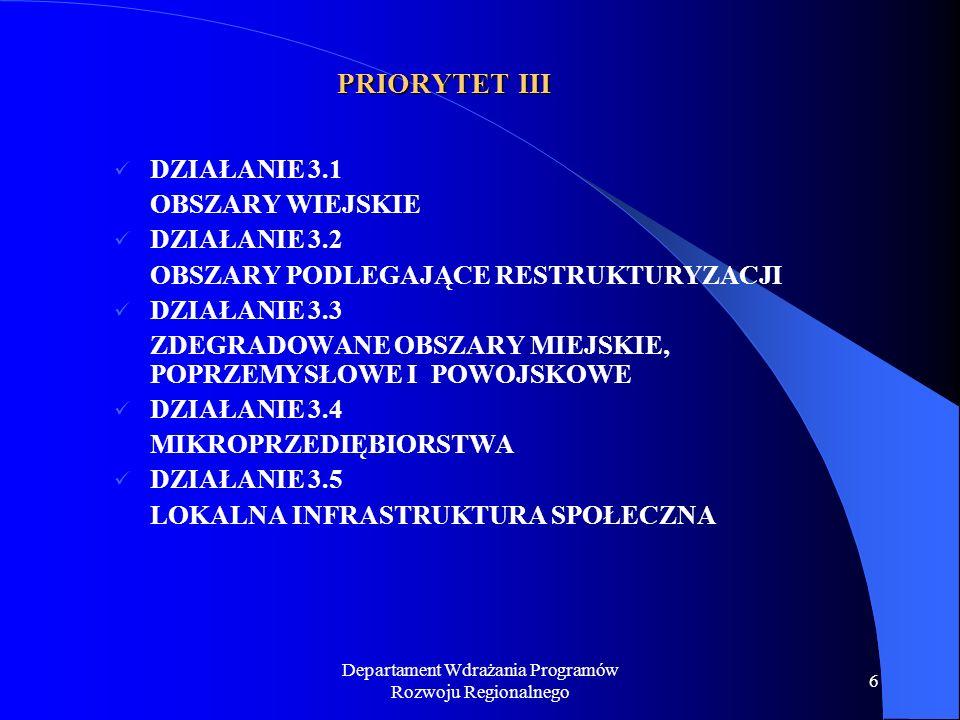 Departament Wdrażania Programów Rozwoju Regionalnego 6 PRIORYTET III DZIAŁANIE 3.1 OBSZARY WIEJSKIE DZIAŁANIE 3.2 OBSZARY PODLEGAJĄCE RESTRUKTURYZACJI