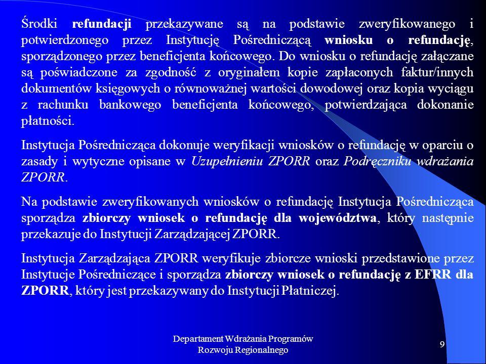 Departament Wdrażania Programów Rozwoju Regionalnego 10 SCHEMAT PRZEPŁYWÓW FINANSOWYCH z Europejskiego Funduszu Społecznego oraz z Europejskiego Funduszu Rozwoju Regionalnego dla Działania 3.4 Mkroprzedsiębiorstwa Komisja Europejska Zaliczka lub refundacja Rachunek funduszowy w Instytucji Płatniczej(EUR) Rachunek programowy w Instytucji Płatniczej(EUR) Transfe r Zaliczka lub refundacja Rachunek programowy w Instytucji Pośredniczącej (EUR) Projektodawca Refundacja Upoważniony przedstawiciel MF + księgowy Upoważniony przedstawiciel MF + księgowy Upoważniony przedstawiciel Instytucji Pośredniczącej + księgowy