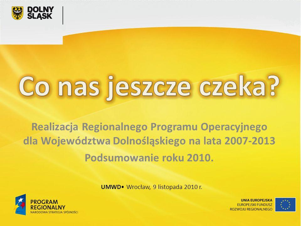 Realizacja Regionalnego Programu Operacyjnego dla Województwa Dolnośląskiego na lata 2007-2013 Podsumowanie roku 2010.