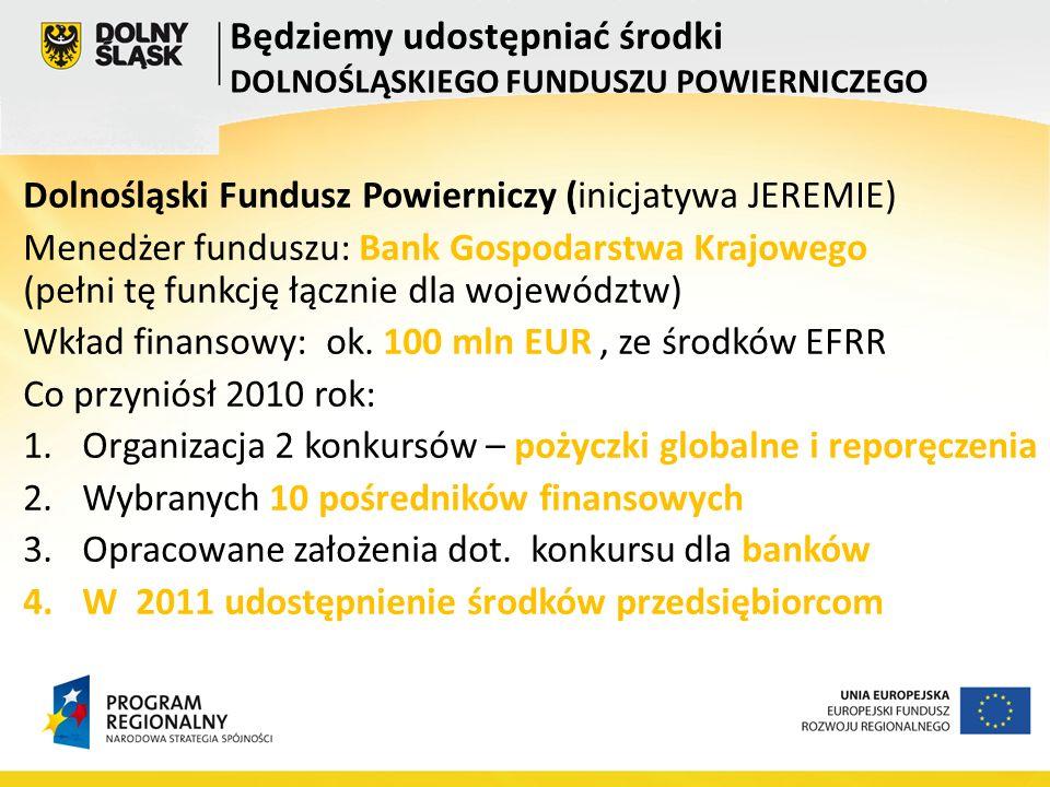Dolnośląski Fundusz Powierniczy (inicjatywa JEREMIE) Menedżer funduszu: Bank Gospodarstwa Krajowego (pełni tę funkcję łącznie dla województw) Wkład finansowy: ok.
