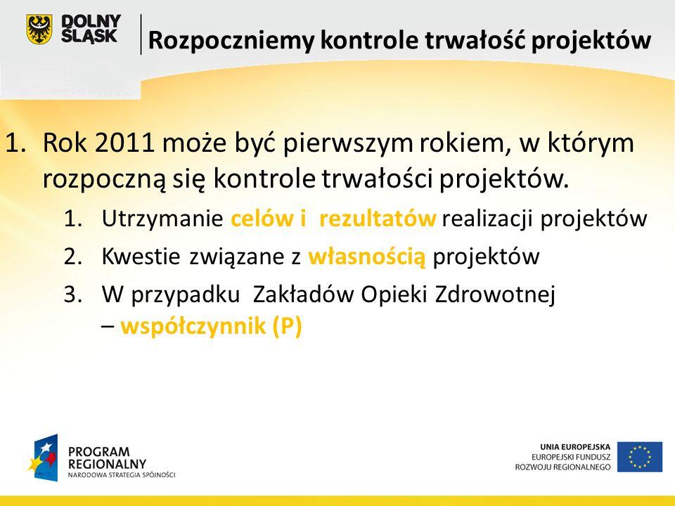 1.Rok 2011 może być pierwszym rokiem, w którym rozpoczną się kontrole trwałości projektów.