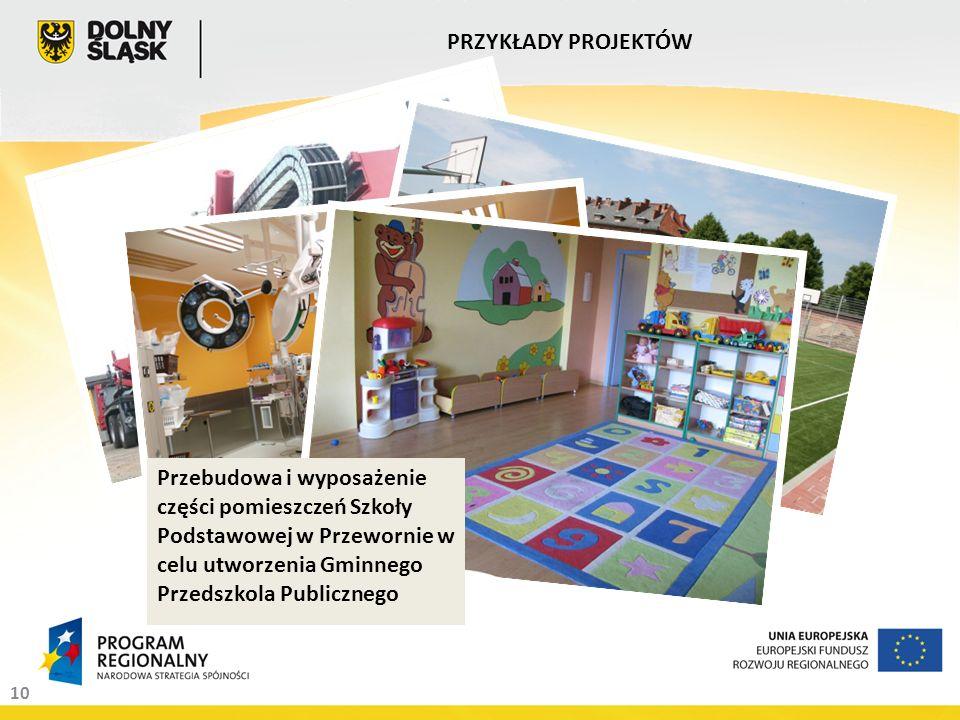 Dywersyfikacja usług firmy NAWITEL poprzez zakup i wdrożenie innowacyjnej technologii do wykonywania precyzyjnych bezwykopowych horyzontalnych przewiertów sterowanych 10 PRZYKŁADY PROJEKTÓW Zagospodarowanie zdegradowanych terenów powojskowych-na cele rekreacyjno- wypoczynkowe w Jaworze Poprawa jakości opieki zdrowotnej na Dolnym Śląsku poprzez modernizację Bloku Operacyjnegow Dolnośląskim Centrum Rehabilitacji Sp.