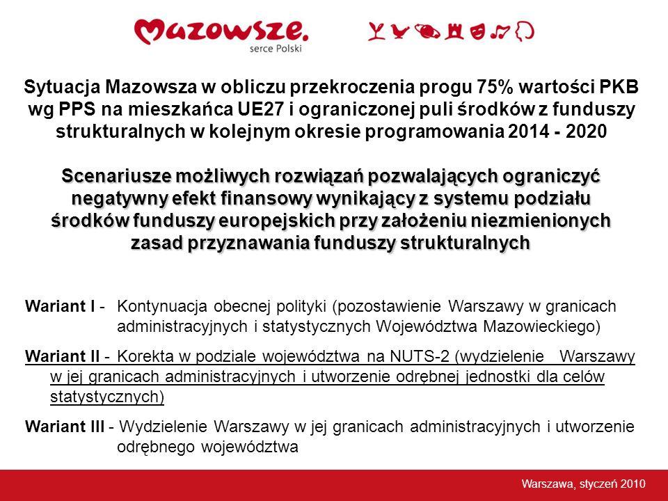 Sytuacja Mazowsza w obliczu przekroczenia progu 75% wartości PKB wg PPS na mieszkańca UE27 i ograniczonej puli środków z funduszy strukturalnych w kol