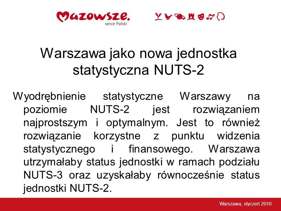 Warszawa jako nowa jednostka statystyczna NUTS-2 Wyodrębnienie statystyczne Warszawy na poziomie NUTS-2 jest rozwiązaniem najprostszym i optymalnym. J