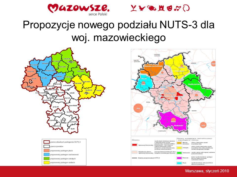 Propozycje nowego podziału NUTS-3 dla woj. mazowieckiego Warszawa, styczeń 2010