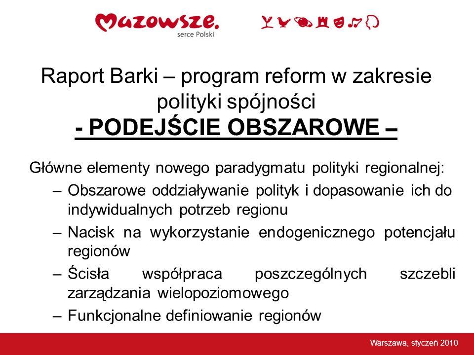Raport Barki – program reform w zakresie polityki spójności - PODEJŚCIE OBSZAROWE – Główne elementy nowego paradygmatu polityki regionalnej: –Obszarow