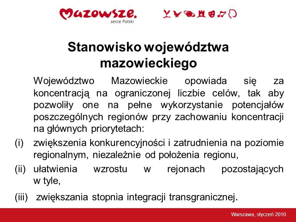 Stanowisko województwa mazowieckiego Województwo Mazowieckie opowiada się za koncentracją na ograniczonej liczbie celów, tak aby pozwoliły one na pełn