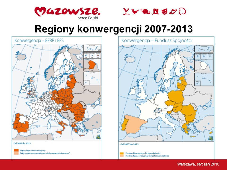 Programy operacyjne w Polsce w latach 2007 -2013 16 Regionalnych Programów Operacyjnych (RPO) Program Operacyjny Innowacyjna Gospodarka (PO IG) Program Operacyjny Kapitał Ludzki (PO KL) Program Operacyjny Infrastruktura i Środowisko (PO IiŚ) Program Operacyjny Rozwój Polski Wschodniej (PO RPW) Program Operacyjny Pomoc Techniczna 2007-2013 (PO PT) Program Rozwoju Obszarów Wiejskich (PROW) Program Operacyjny Zrównoważony rozwój sektora rybołówstwa i nadbrzeżnych obszarów rybackich (PO Ryby) Europejska Współpraca Terytorialna – 14 programów Warszawa, styczeń 2010