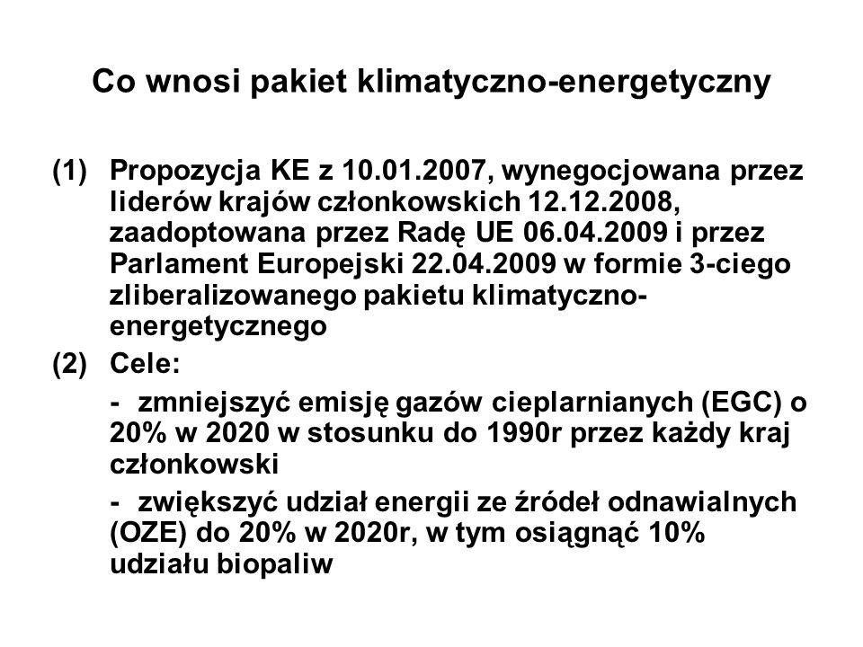Co wnosi pakiet klimatyczno-energetyczny (1)Propozycja KE z 10.01.2007, wynegocjowana przez liderów krajów członkowskich 12.12.2008, zaadoptowana przez Radę UE 06.04.2009 i przez Parlament Europejski 22.04.2009 w formie 3-ciego zliberalizowanego pakietu klimatyczno- energetycznego (2)Cele: -zmniejszyć emisję gazów cieplarnianych (EGC) o 20% w 2020 w stosunku do 1990r przez każdy kraj członkowski -zwiększyć udział energii ze źródeł odnawialnych (OZE) do 20% w 2020r, w tym osiągnąć 10% udziału biopaliw