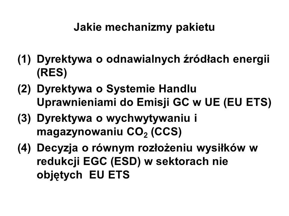Największe wyzwanie – nowa Dyrektywa EU ETS (1)Po 2013 roku uprawnienia do emisji GC w sektorach objętych EU ETS (wytwarzanie energii elektrycznej, koksownie, rafinerie, produkcja metali, cementu, ceramika, szkła, pulpy i papieru) nie będą rozdzielane za darmo (2)Sektory ETS w przemyśle zaczną od kupna w drodze aukcji 20% ogółu uprawnień w 2013r, stopniowy wzrost do 70% w 2020r, aż do kupowania 100% w 2027r (możliwość zwolnień – wypływ węgla) (3)W wytwarzaniu energii elektrycznej 100% uprawnień do emisji będzie kupowane w drodze aukcji od 2013r.
