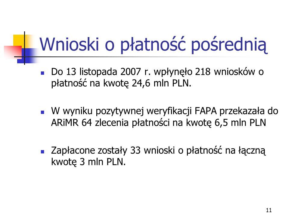 11 Wnioski o płatność pośrednią Do 13 listopada 2007 r.