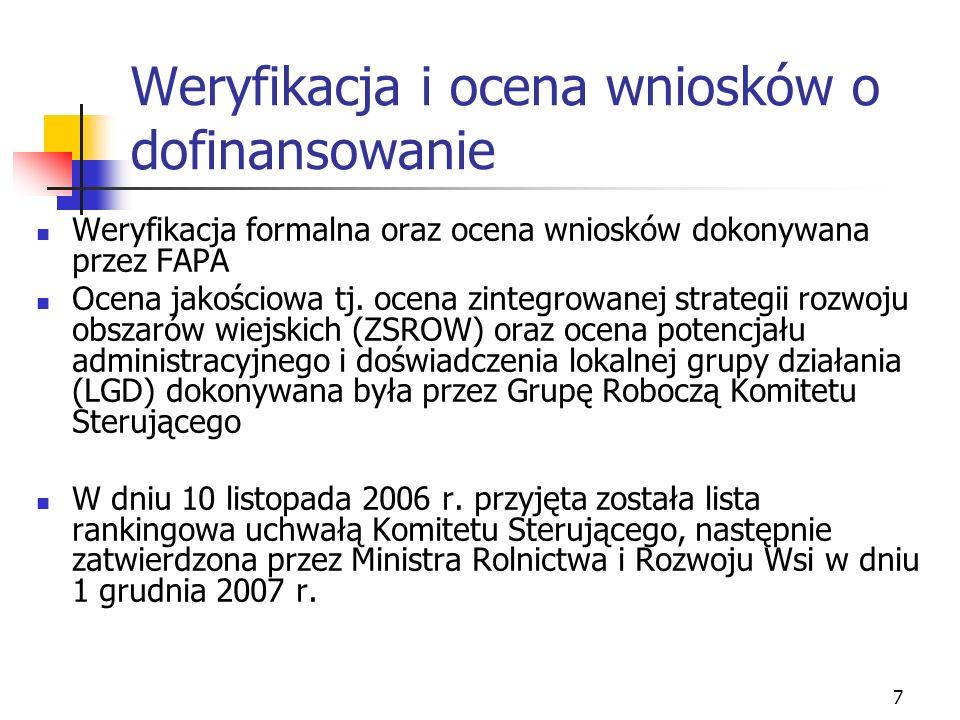 8 Podpisywanie umów Podpisywanie umów miało miejsce od początku stycznia do 13 kwietnia 2007 r.