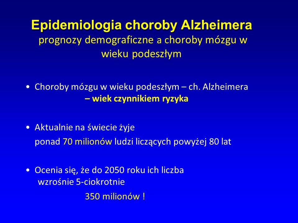Epidemiologia choroby Alzheimera Epidemiologia choroby Alzheimera prognozy demograficzne a c horoby mózgu w wieku podeszłym Choroby mózgu w wieku pode