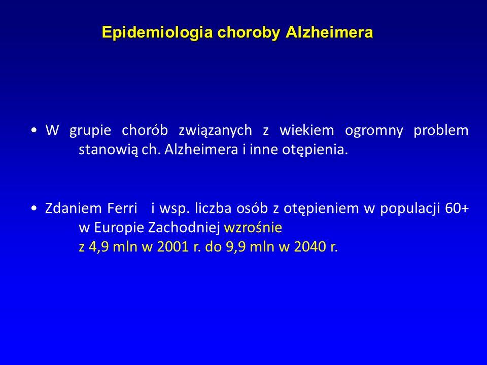 Epidemiologia choroby Alzheimera Epidemiologia choroby Alzheimera W grupie chorób związanych z wiekiem ogromny problem stanowią ch. Alzheimera i inne
