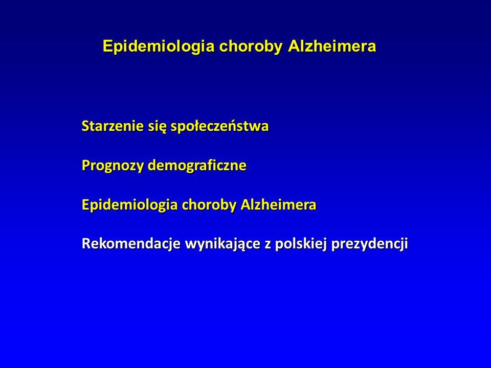 Epidemiologia choroby Alzheimera Epidemiologia choroby Alzheimera Starzenie się społeczeństwa Prognozy demograficzne Epidemiologia choroby Alzheimera