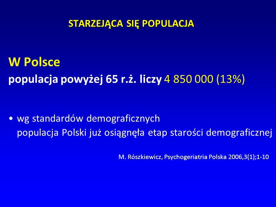 STARZEJĄCA SIĘ POPULACJA W Polsce populacja powyżej 65 r.ż. liczy 4 850 000 (13%) wg standardów demograficznych populacja Polski już osiągnęła etap st