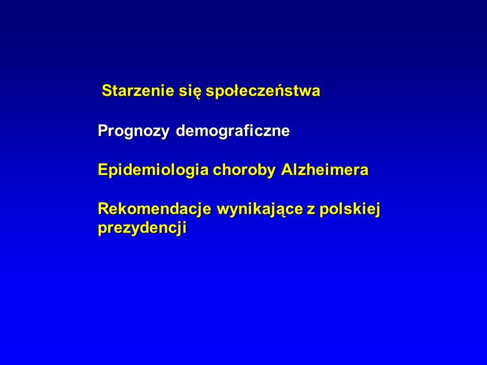 Starzenie się społeczeństwa Prognozy demograficzne Epidemiologia choroby Alzheimera Rekomendacje wynikające z polskiej prezydencji Starzenie się społe