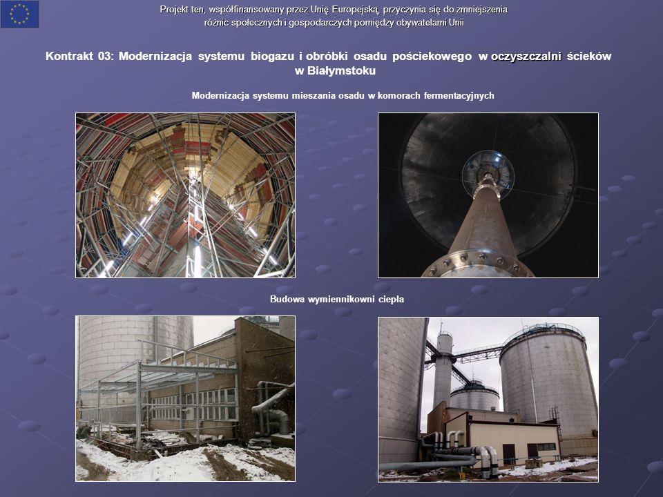 oczyszczalni Kontrakt 03: Modernizacja systemu biogazu i obróbki osadu pościekowego w oczyszczalni ścieków w Białymstoku Projekt ten, współfinansowany przez Unię Europejską, przyczynia się do zmniejszenia różnic społecznych i gospodarczych pomiędzy obywatelami Unii Modernizacja systemu mieszania osadu w komorach fermentacyjnych Budowa wymiennikowni ciepła
