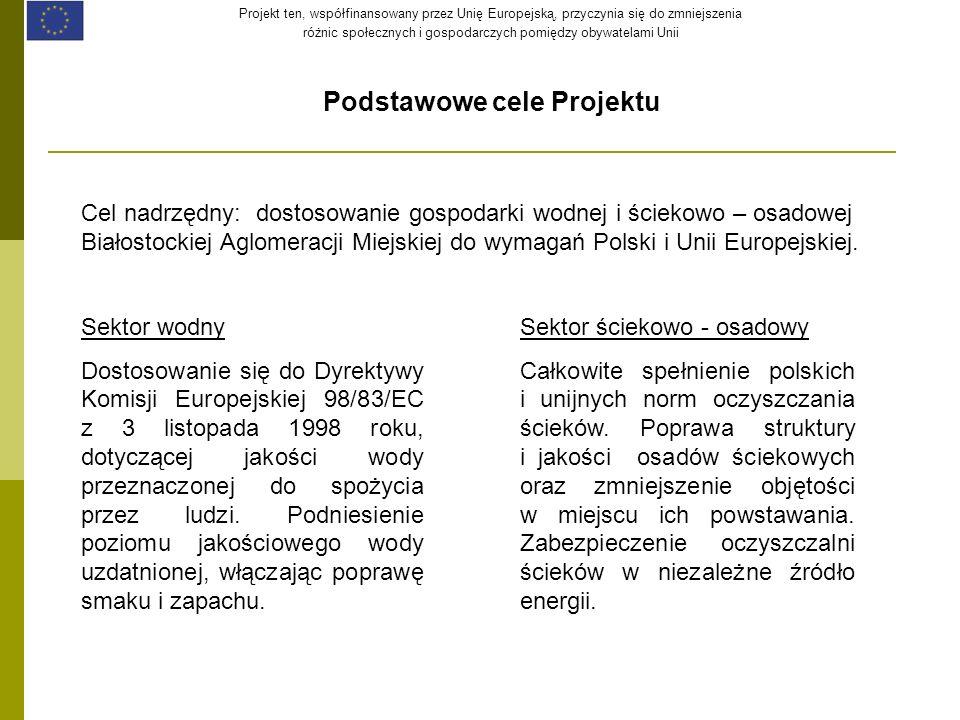 Projekt ten, współfinansowany przez Unię Europejską, przyczynia się do zmniejszenia różnic społecznych i gospodarczych pomiędzy obywatelami Unii Podstawowe cele Projektu Cel nadrzędny: dostosowanie gospodarki wodnej i ściekowo – osadowej Białostockiej Aglomeracji Miejskiej do wymagań Polski i Unii Europejskiej.