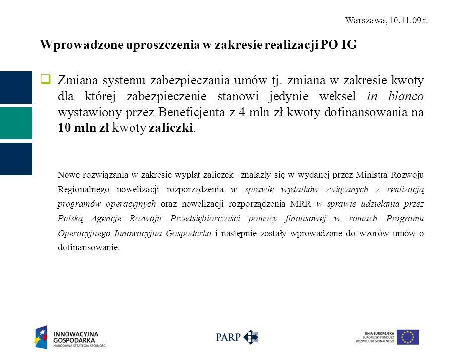Warszawa, 10.11.09 r. Wprowadzone uproszczenia w zakresie realizacji PO IG Zmiana systemu zabezpieczania umów tj. zmiana w zakresie kwoty dla której z