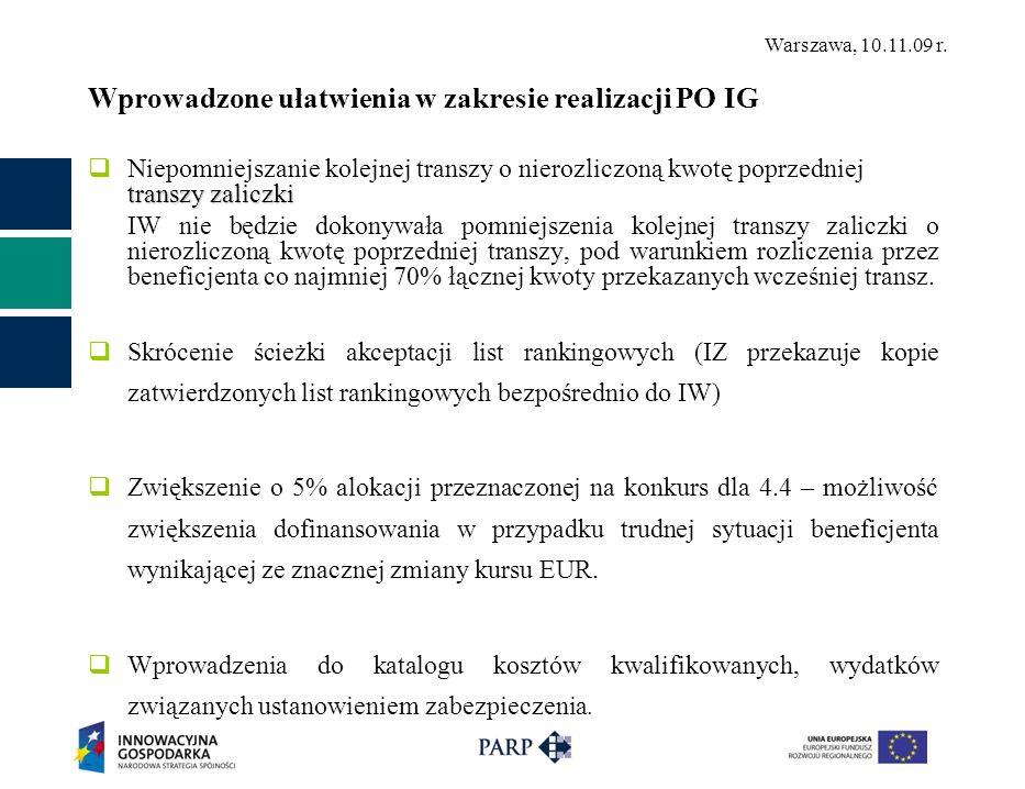 Warszawa, 10.11.09 r. Wprowadzone ułatwienia w zakresie realizacji PO IG transzy zaliczki Niepomniejszanie kolejnej transzy o nierozliczoną kwotę popr