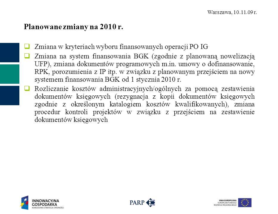 Warszawa, 10.11.09 r. Planowane zmiany na 2010 r.