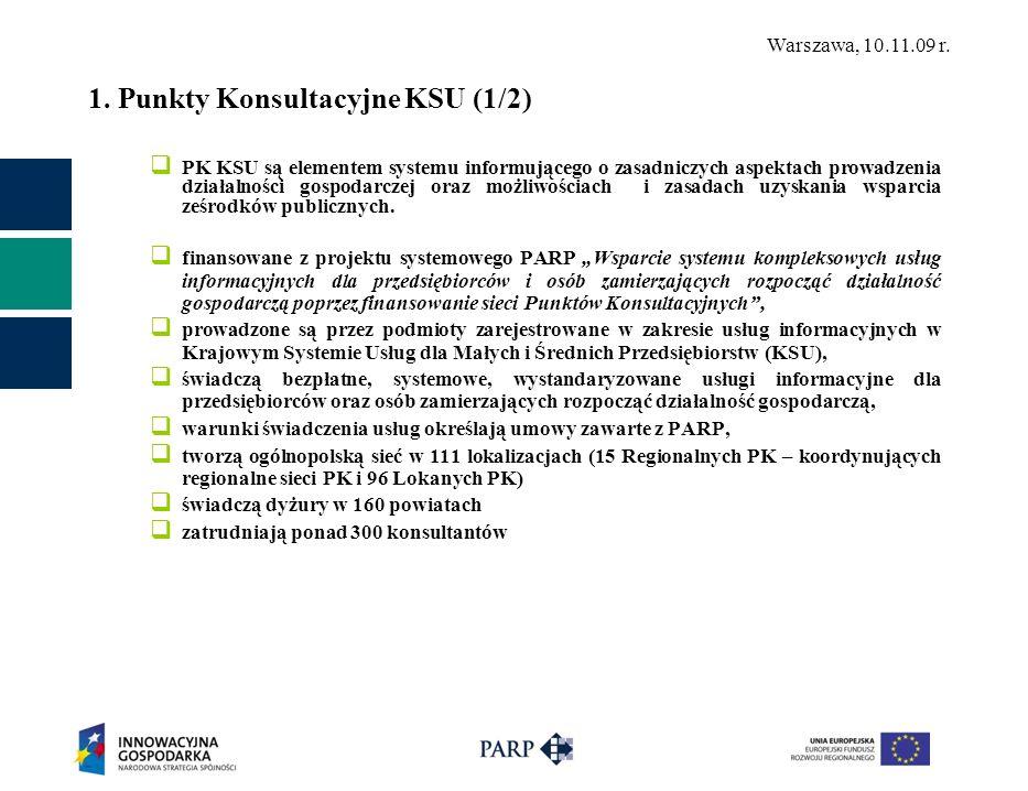 Warszawa, 10.11.09 r. 1. Punkty Konsultacyjne KSU (1/2) PK KSU są elementem systemu informującego o zasadniczych aspektach prowadzenia działalności go