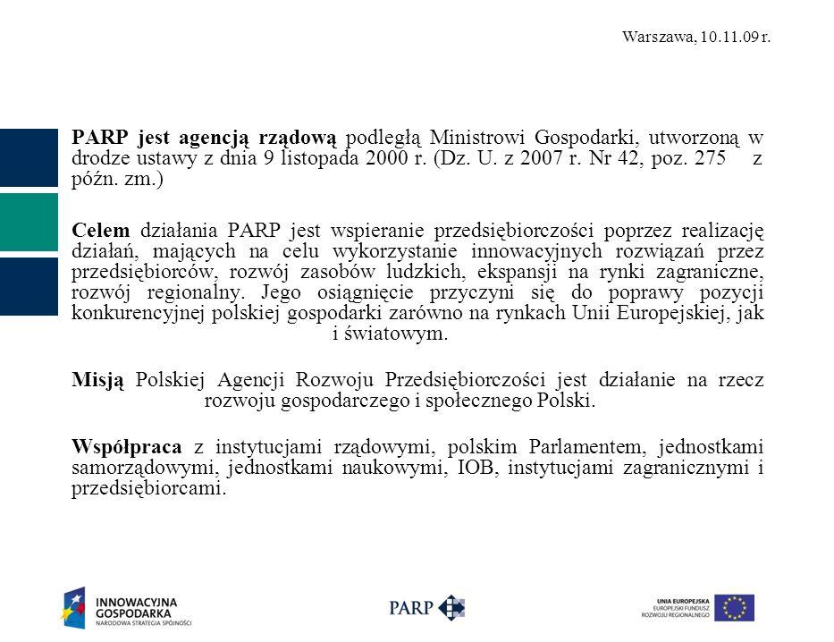 Warszawa, 10.11.09 r. PARP jest agencją rządową podległą Ministrowi Gospodarki, utworzoną w drodze ustawy z dnia 9 listopada 2000 r. (Dz. U. z 2007 r.