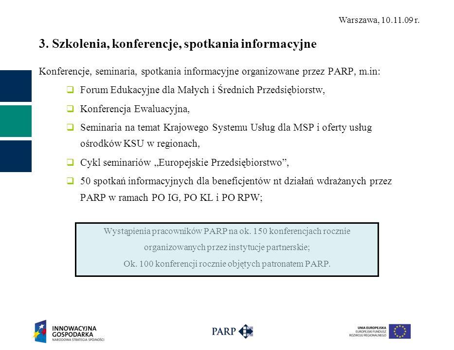 Warszawa, 10.11.09 r. 3. Szkolenia, konferencje, spotkania informacyjne Konferencje, seminaria, spotkania informacyjne organizowane przez PARP, m.in: